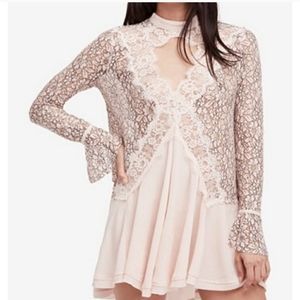 Free People Lace Victorian Bell Sleeve Tunic Dress